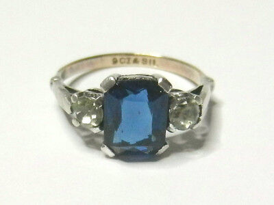 Vintage Art Deco 9 ct Gold Silver and Sapphire Blue Paste Ring Size N
