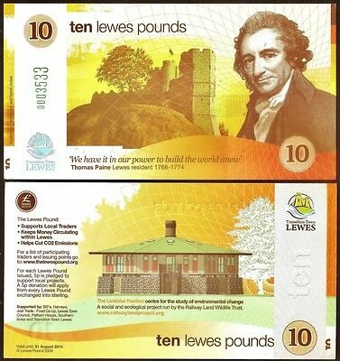 England / Lewes *  1st. series £10 Banknote, very different Yellow design. UNC