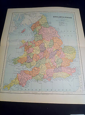 "1879 Antique Map of England and Wales 13"" x 10 3/4"" Ex Cond."