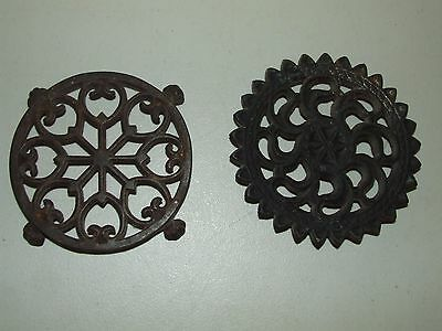 Antique Pair Victorian Ornate Cast Iron Coffee Pot Trivets, One w/ Lion Paw Feet