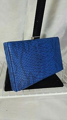 LADIES Blue FAUX LEATHER CROCODILE SNAKE SKIN CLUTCH BAG SHOULDER EVENING BAG