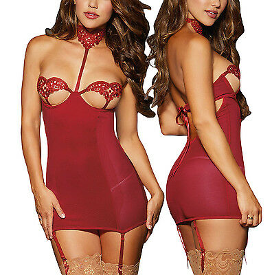 Embroidered Lace Cup Choker Chemise Maillot Open Lace Cups with removable Garter