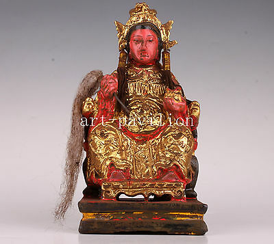 Wood Painted Golden Sitting Statue Buddha Folk Sacrifice Rare Collection Vintage