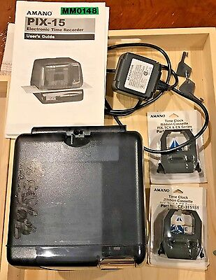 AMANO PIX 15 TIME CLOCK with 2 INK CARTRIDGES MANUAL AND KEYS