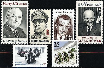 Korean War Famous People and Scenes Set of 6 Different MNH US Postage Stamps