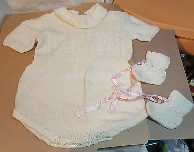Vintage Knitted Baby, Cream Jumpsuit, Booties,1950's
