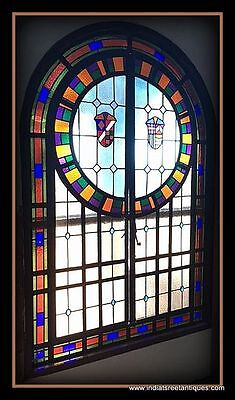 c.1900 Large Leaded Stained Glass Arched Window/Door - Medieval Shield Motif