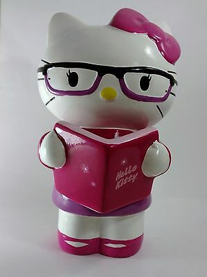 """Hello Kitty 9"""" Bank Piggy Coin Bank Ceramic Glasses Pink Hair Bow Book Reading"""