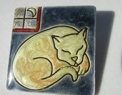 Antique Silver Button Sleeping Cat Painted Enamel Luster Large Square Realistic