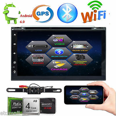 Android 6.0 Double 2 Din Car Stereo Radio GPS WiFi 3G OBD BT DVD Player+Camera