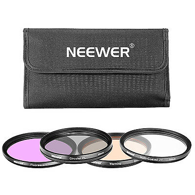 Neewer 4 Pieces 58MM UV CPL FLD Warming Filter Set for Canon