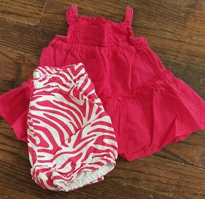 Infant Baby Girl 6 Months Two Piece Outfit. Shirt, Shorts, Set. VGUC