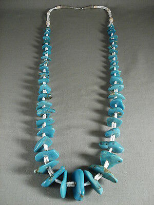 Chunky And Huge Turquoise Nugget Galore Vintage Navajo Silver Necklace