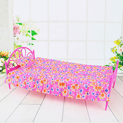 Kids Gift Miniature Bedroom Furniture Pink Bed for Barbie Dolls Dollhouse Toy