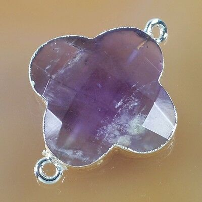 Clover Natural Amethyst Faceted Connector Silver Plated B032722