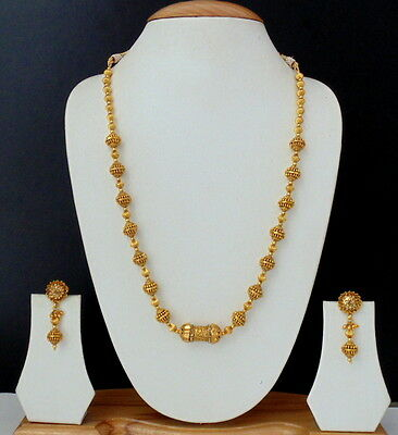 Indian Jewelry Gold Plated Beads Traditional Necklace Earrings Mala Lovable Set
