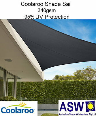 6.5m x 6.5m x 6.5m Triangle SHADE SAIL Coolaroo Commercial GRAPHITE Shadecloth