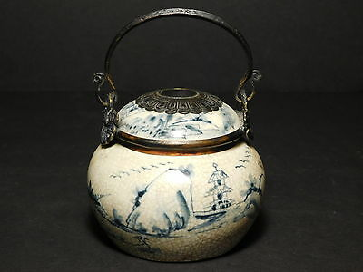 Early Antique Signed Chinese Censor Porcelain with Bronze Decorated in Flo Blue