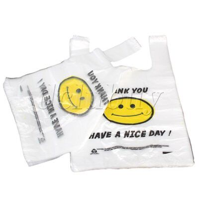 100pcs Carry Out Retail Supermarket Grocery Plastic Shopping Bag 26 x 40cm