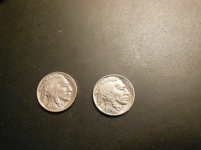Buffalo nickel 1937 P and  D AU  with mint luster two coin listing