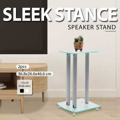 2pc Monitor Speaker Stand Safety Glass Studio Aluminum Pillar Transparent/Black