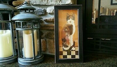 COUNTRY CAT BY CINDY SAMPSON CALICO CAT FRAMED PRINT - SIGNED - 1990's