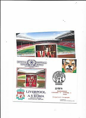 Dawn Postal Cover Liverpool v A.S, Roma  UEFA Cup 22/2/2001 + Postcard