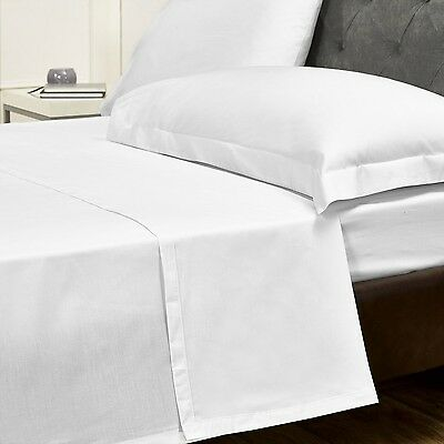White Cotton Rich Hotel Quality - Single, King & Queen Bed Flat Sheets