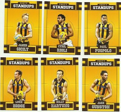 2017 select FOOTY STARS FOOTY STANDUPS HAWTHORN TEAM SET OF 6 CARDS afl