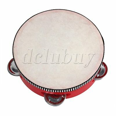 "6 ""Pure Natural Color Musical Sheepskin Tambourine Round Drum For Children"