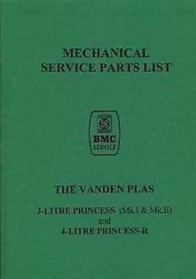 AUSTIN Vanden Plas 3/4Ltr. Princess to R Parts Manual Book catalogue paper car