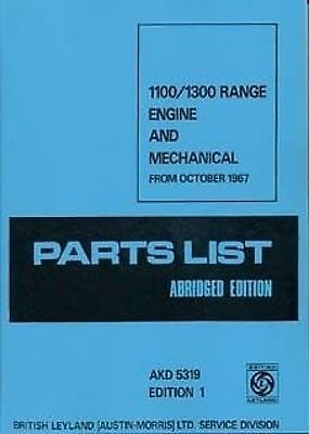 AUSTIN 1100 to 1300 1972 parts Manual Book catalogue paper car
