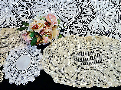 A Selection of 18 White & Ecru Hand Crocheted Doilies