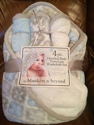 Blankets & Beyond 4 PC Baby Boy Hooded Bath Towel And Washcloth Set