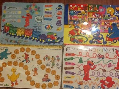 4 Sesame Street Placemats 2 Alphabet Theme 2 Colors, All are Double Sided