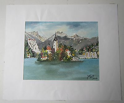 Continental Chateau? Alps? Lake Original Watercolour Painting 2003 - Signed