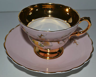 Rosina Bone China Cup And Saucer Pink And Gold
