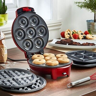 Vonshef 3 In 1 Red Non Stick Electric Donut Waffles Brownie Snack Maker Machine