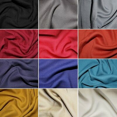 100% Viscose Soft Silky Plain Coloured Twill Dressmaking Fabric 140cm Wide