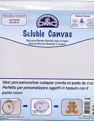DMC Water Soluble Canvas - 14 count 20 x 22cms