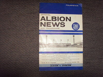 DUAL PROGRAMME - WEST BROM v EVERTON (& RESERVES) 1964