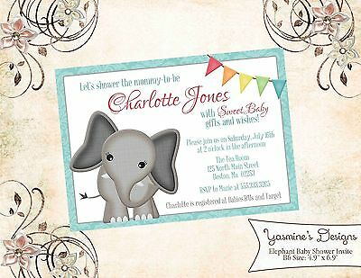 Baby Elephant, Aqua, Teal Baby Shower Invitation: Personalized