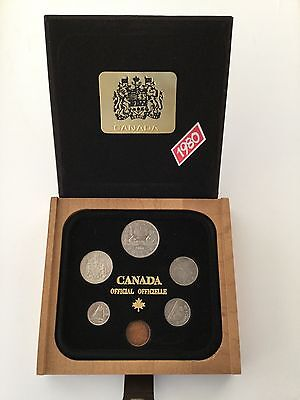 Canada Canadian Royal Canadian Mint 1980 6 Coin Set in RCM Wood Display Box
