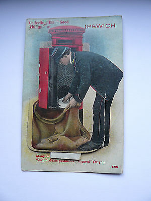 Collecting the Good Things at Ipswich Postcard Mailing Novelty Postman Gooding