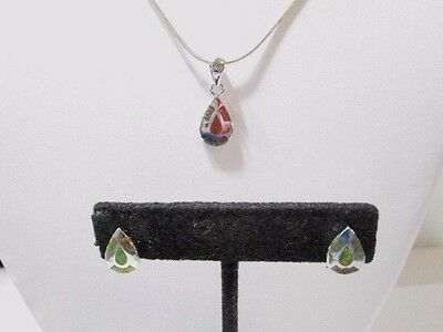 Beautiful Signed .925 Necklace And Earrings Pierced Set W Inlaid Opal Petite
