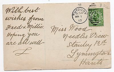 1913 post card with 1/2d green tied by 226 Tutbury duplex pmk
