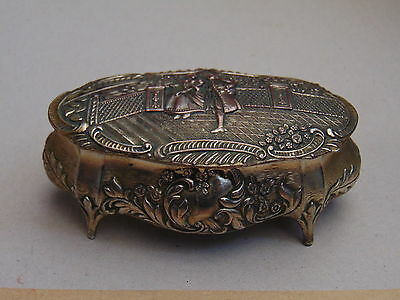 Vintage Mid-Century Trinket Box Silver Plate on Copper by AKS