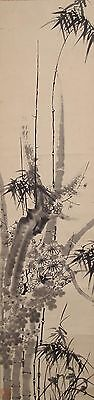 #7169 Japanese Hanging Scroll: Four Gentlemen: Orchid, Bamboo, Mum, and Plum