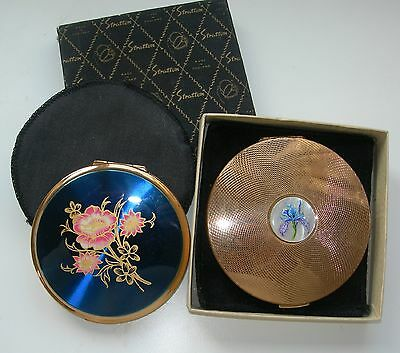 2 Ladies Stratton Compacts - 2 Pouches & One Box