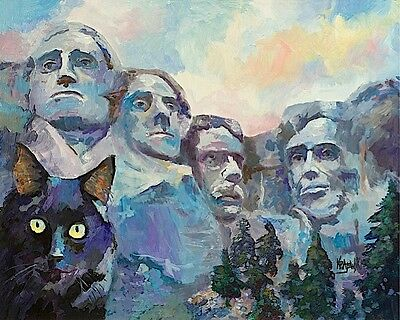 Black Cat at Mt. Rushmore 11x14 signed art PRINT RJK